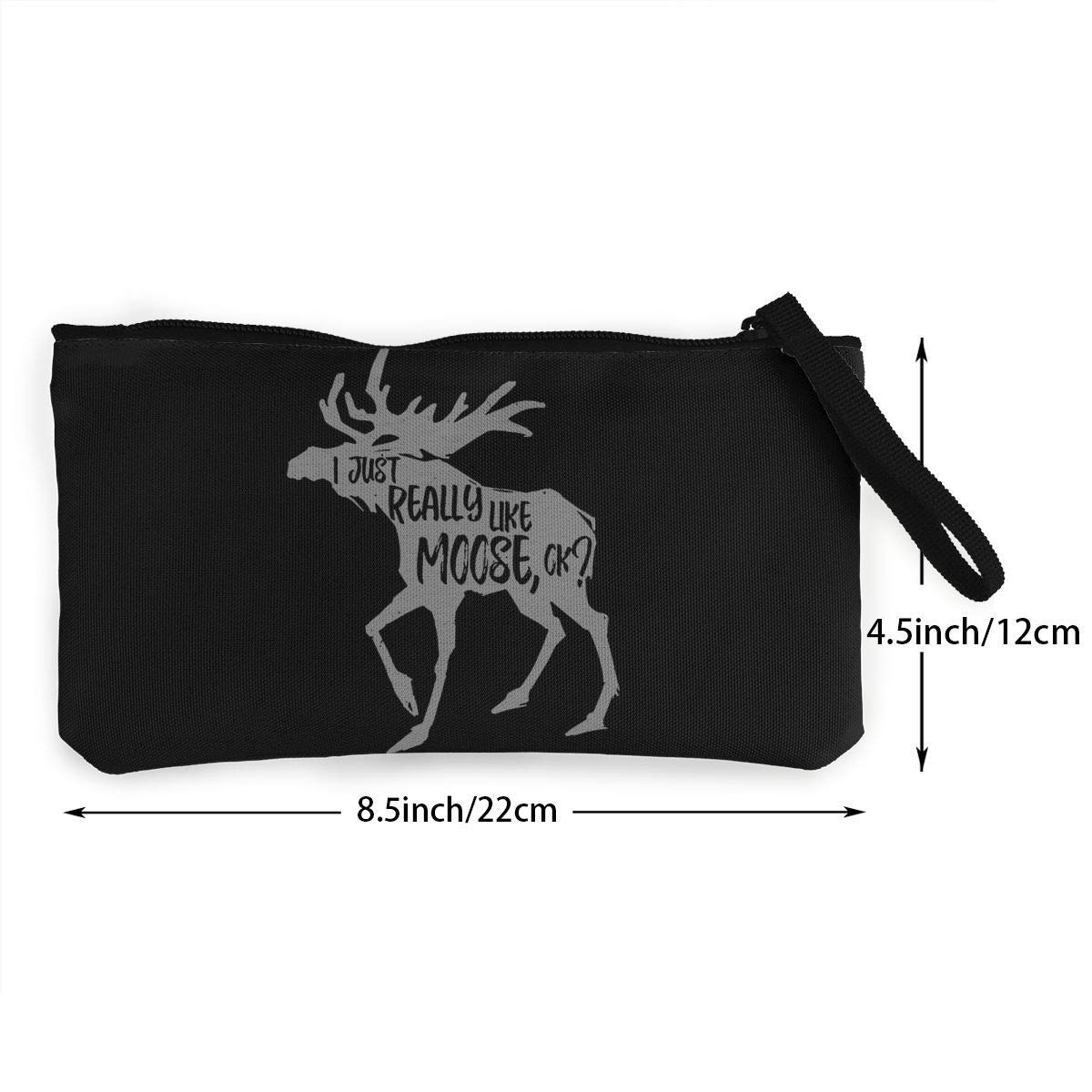 I Just Really Like Moose Canvas Cash Coin Purse Make Up Bag Cellphone Bag With Zipper And Handle