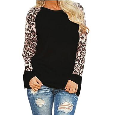 Women Shirts Leopard Blouse Tops Plus Size Casual Long Sleeve Blouse Tunic  Girls Sweatshirt Jumper Pullover 58c512d8d