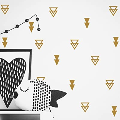 Set of 44 pcs Triangles Modern Arrow Pattern Wall Sticker-DIY Home Wall Decal for Kids Boys Baby Bedroom -Art Vinyl Wall Decor Mural YYU-15 (Gold): Home Improvement