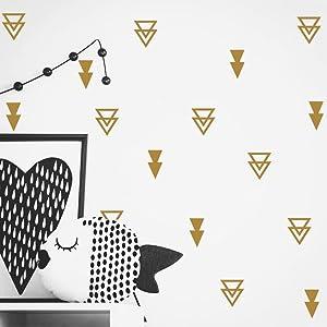 Set of 44 pcs Triangles Modern Arrow Pattern Wall Sticker-DIY Home Wall Decal for Kids Boys Baby Bedroom -Art Vinyl Wall Decor Mural YYU-15 (Gold)