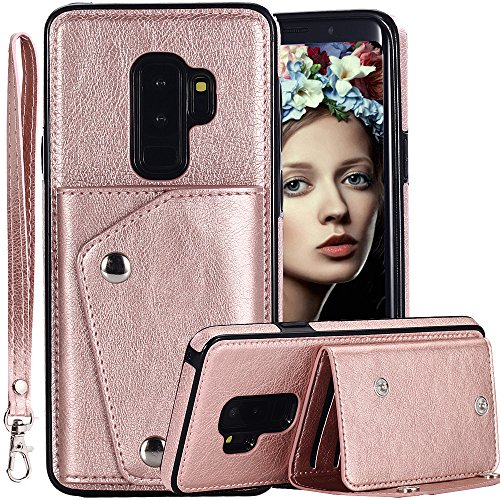 Galaxy S9 Plus Wallet Case for Men/Women,Auker 4 Card Holder Premium Flip Leather Magnet Back Wallet Case with Strap&Cash Pocket Fold Kickstand Slim Fit Protective Purse for Samsung S9 Plus (RoseGold) (The Back Case On)