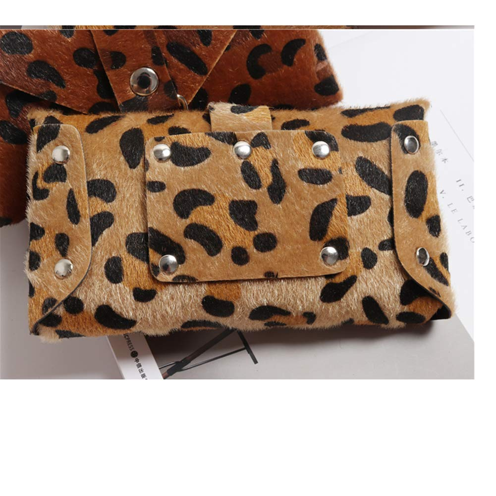 Small Leopard Leather Waist Fanny Belt Pack Bag Phone Purse With Street Style For Women Girls Fashion by GECHENG (Image #4)