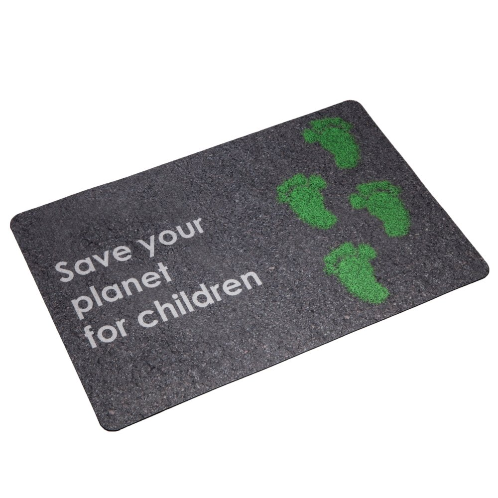 Entryway Door mat For Patio, Front Door Decorative 3d Rendering a Trace of The Bare Feet with The Text''Save your planet for children''