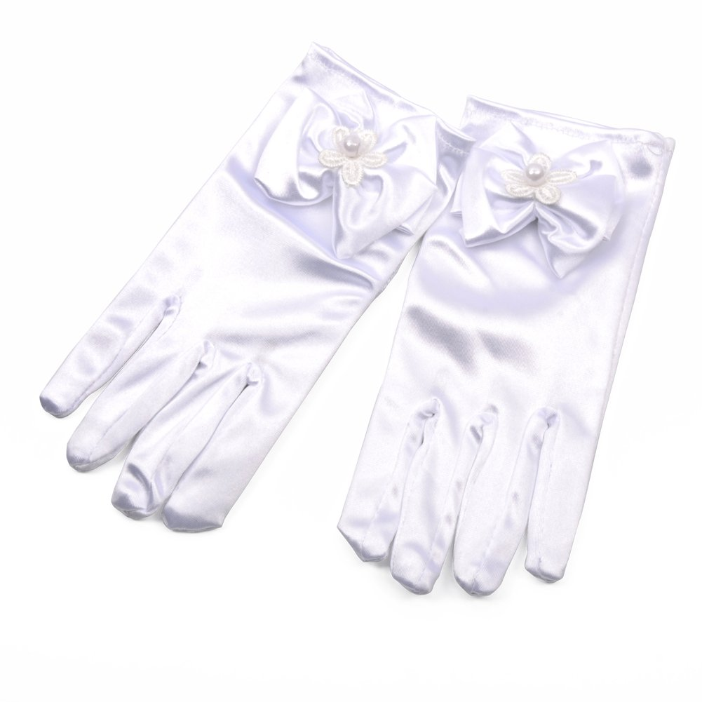 Lusiyu Girl Solid Child Size Wrist Length Formal Glove with Bow (White)