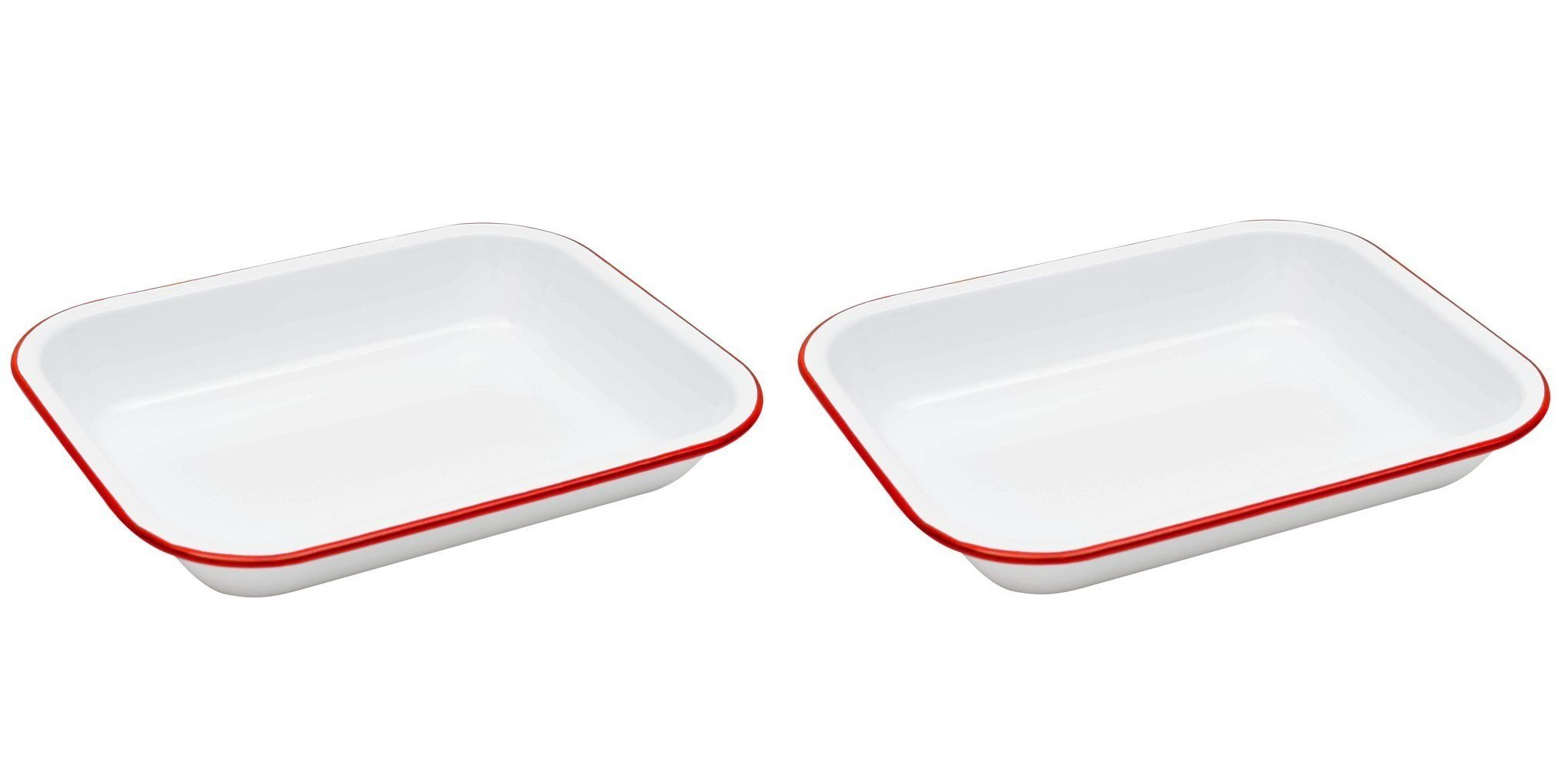 Crow Canyon Enamelware Small Roasting Pan - Solid White with Red Rim Set of 2 11.3 Inches Long By 1.55 Inches Tall By 9.1 Inches Wide