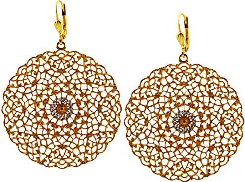 La Vie Parisienne Gold Plated Round Cutout Filigree Dangle Earrings with Swarovski - Swarovski Crystal Filigree Earrings