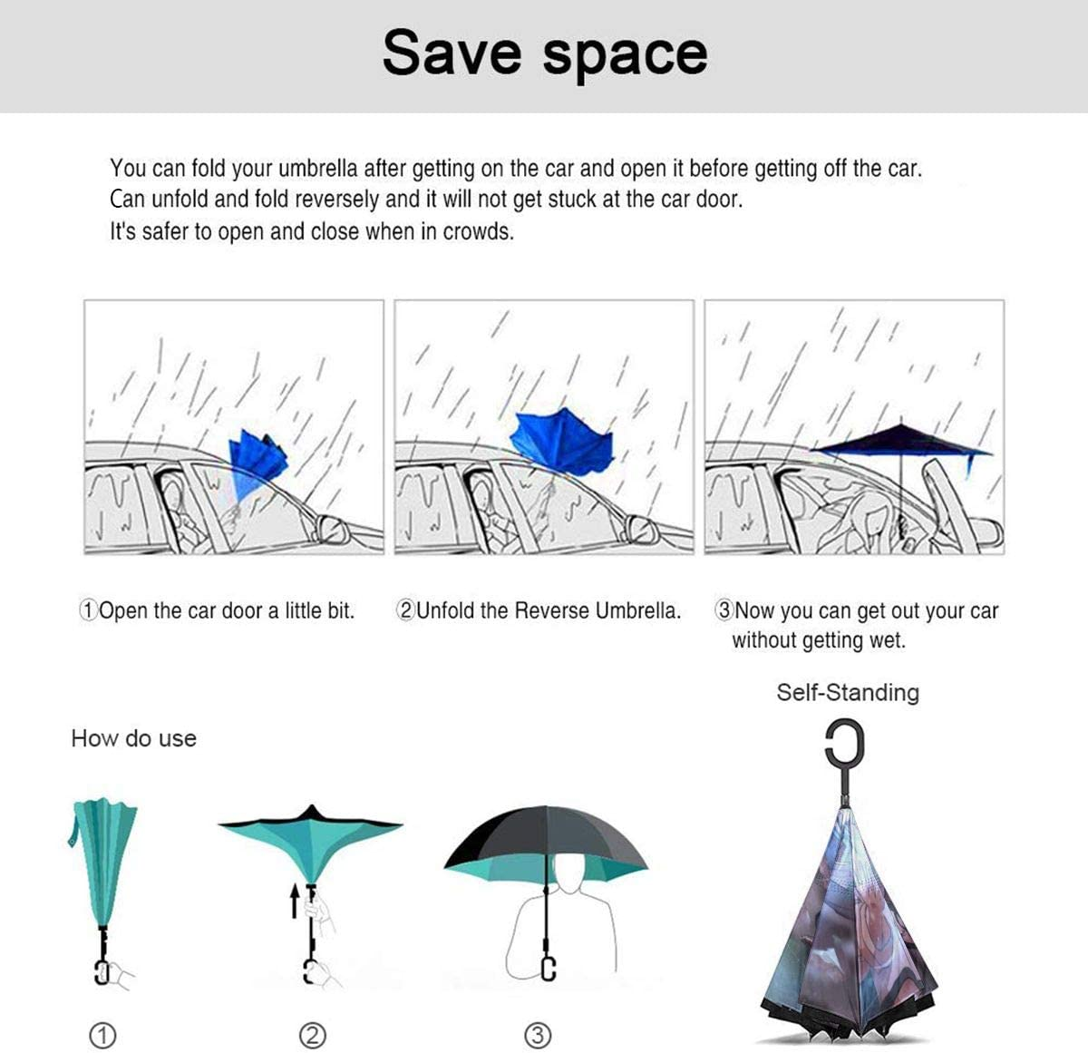 With C-Shaped Handle UV Protection Inverted Folding Umbrellas Windproof And Rainproof Double Folding Inverted Umbrella Naruto Car Reverse Umbrella