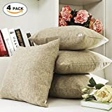 HOME BRILLIANT Decor Lined Linen Square Throw Cushion Pillowcase Covers for Sofa, 18'x18', Natural Linen, Set of 4