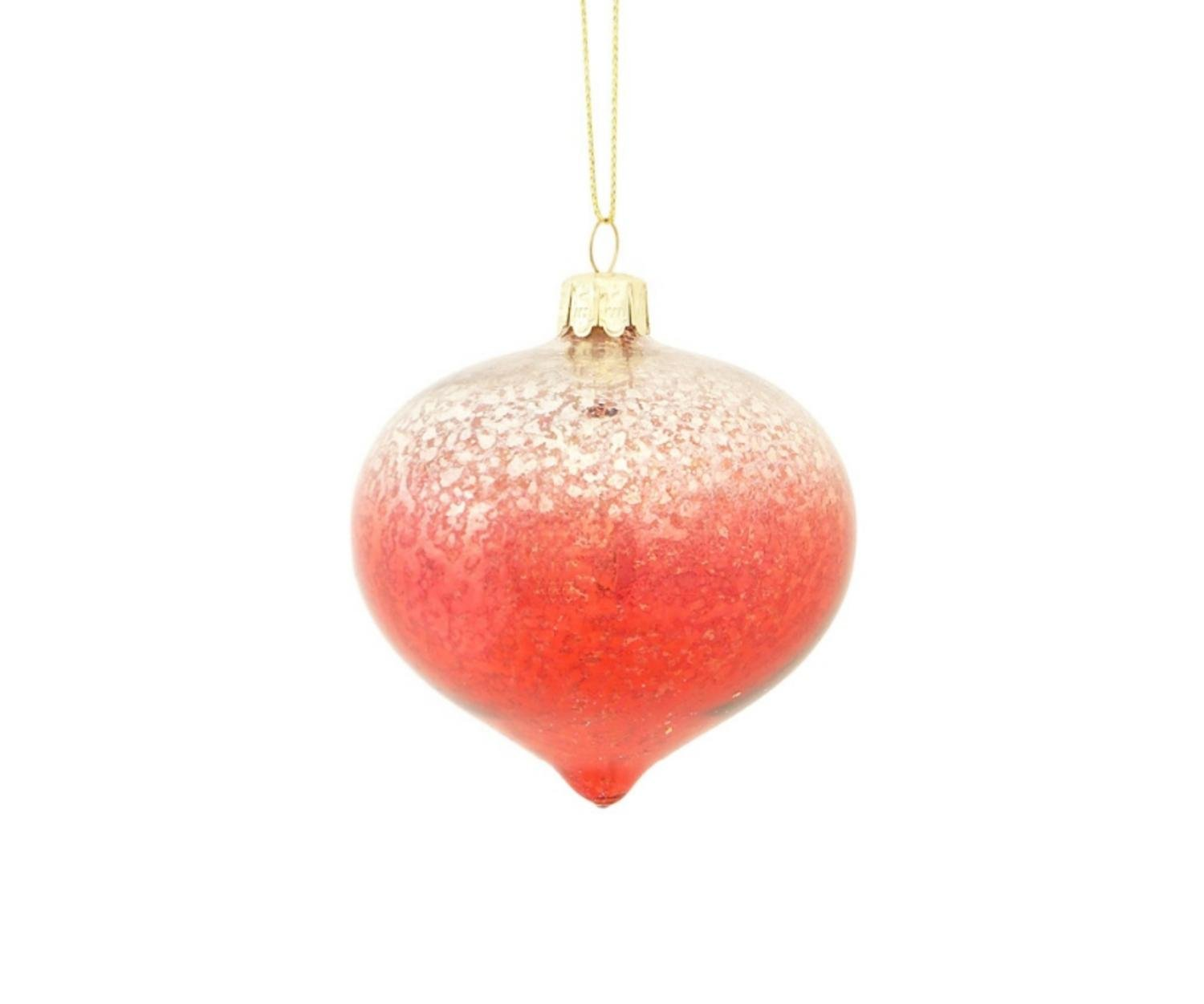Red glass christmas ornaments - 3 Crimson Red Silver Ombre Mercury Glass Onion Shaped Finial Christmas Ornament
