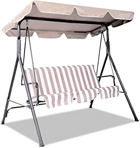 Goplus Swing Canopy Replacement Waterproof Top Cover for Outdoor Garden Patio Porch Yard, Top Cover Only (77'' x 43'', Beige)