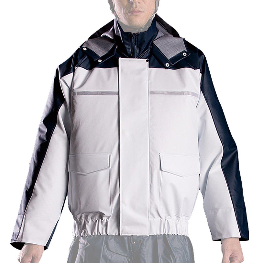 ナダレス 空調服 ブルゾン 全4色 全8サイズ レインパーカ ホワイト L 反射テープ付き 6097 [正規代理店品] B011C073BK Large Large