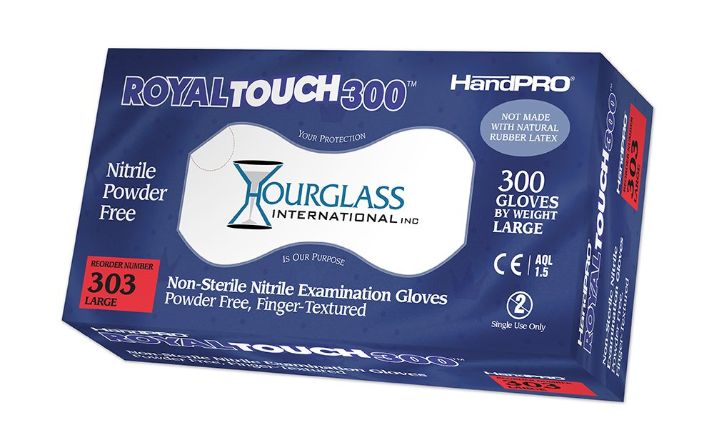 HandPRO 303-CASE RoyalTouch300 Nitrile Gloves, Exam, Powder-Free, Large, Royal Blue, 300 per Box, Case of 10 Boxes (Pack of 3000)