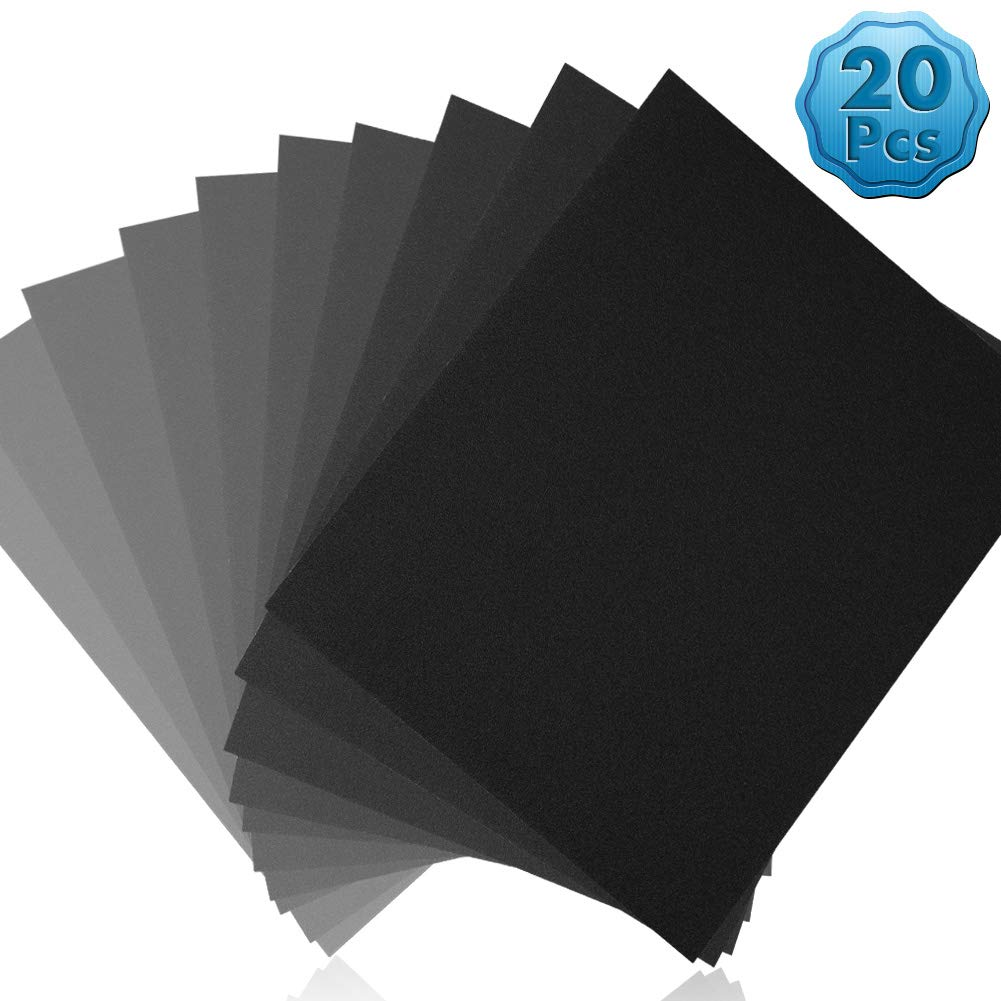 Sand Paper Assortment, Cridoz Wet Dry Sandpaper Fine Grit Sandpaper 9 x 11'' Sanding Paper 10000 7000 5000 3000 2000 1500 1000 800 600 400 Grit Sandpaper for Metal Car by cridoz