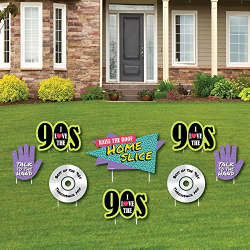 (90's Throwback - Yard Sign & Outdoor Lawn Decorations - 1990s Party Yard Signs - Set of 8)