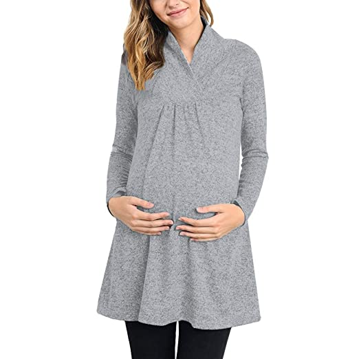 abc342b5dc79 Women's Sweater Maternity Long Sleeve Tunic Top Loose Maternity Clothes  Pregnant Shirts (Gray -1