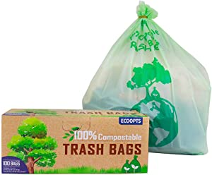 ECOOPTS 100% Compostable Trash Bags 3 Gallon Biodegradable Kitchen Food Waste Bag, Extra Thick 0.79 Mils, ASTM 6400 Kitchen Scraps Bag (100 Count)