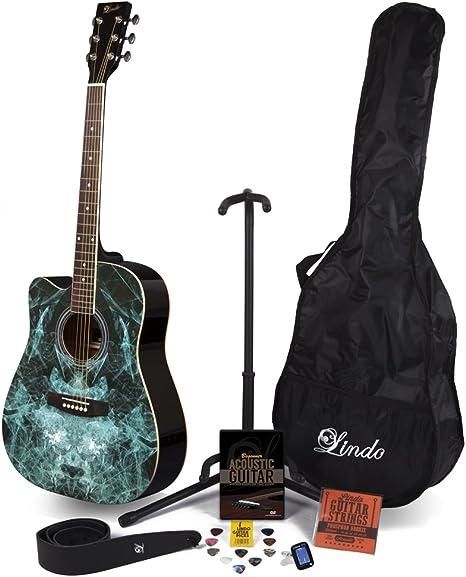 Lindo Fractal zurdos guitarra acústica y completo Pack de accesorios (funda, soporte, cuerdas, correa, 10 púas, DVD, afinador de clip): Amazon.es: Instrumentos musicales