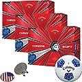 Callaway Golf 2018 Chrome Soft Golf Balls (3 Dozens) (Multi Colors) + 1 Custom Ball Marker Clip Set (US Flag)