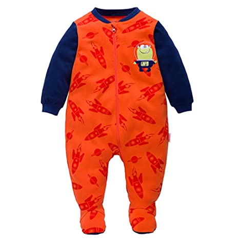 Bebé Peleles Footed Mameluco Algodón Pijama Monos Manga Larga Trajes de Primavera Otoño, Naranja 9