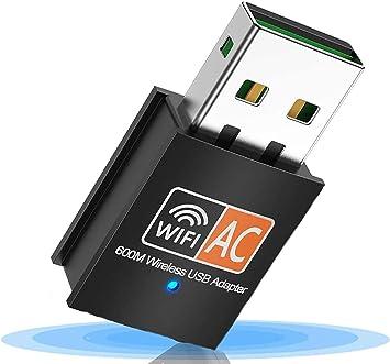SHIVR WiFi Dongle, Adaptador USB WiFi 600Mbps 2.4/5 GHz Mini Adaptador , USB WiFi Antena LAN Adaptador 802.11ac/a/b/g/n para computadora portátil ...