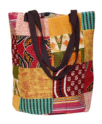 Indistar Womens vintage Cotton Kantha Work Canvas Handle Handmade Tote Bag, Top Handle Shoulder Bags