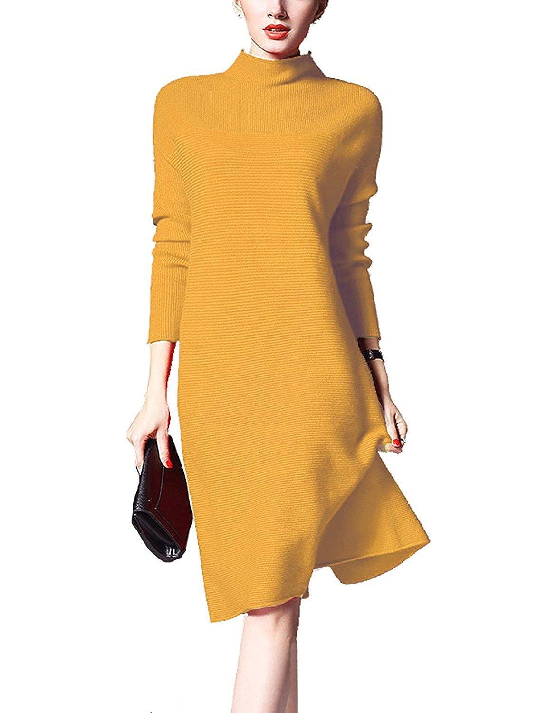 AVANZADA Women's Turtleneck Long Sleeve Knit Sweater Knitwear Dress
