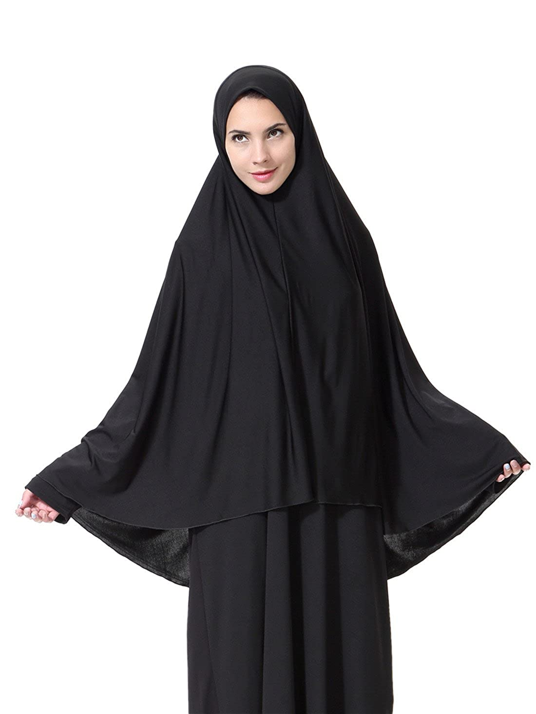 GladThink Mujeres musulmanas estilo largo Hijab Negro XL MSL-HS109-XL