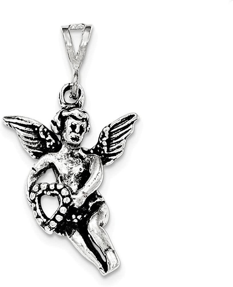 .925 Sterling Silver Antiqued & Textured Flying Angel with Heart Charm Pendant