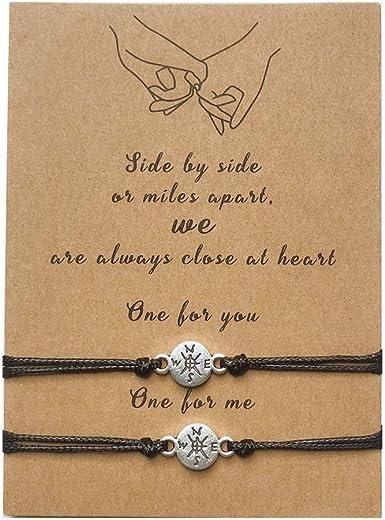 Pinky Promise Distance Bracelets Couples Bracelet Matching Bracelets for Boyfriend Girlfriend Best Friend Adjustable Friendship Bracelet for Family Women Teen Girls Set of 2