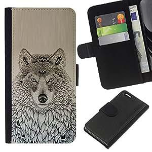 Stuss Case / Funda Carcasa PU de Cuero - American Pattern Dibujo Negro - Apple Iphone 5C