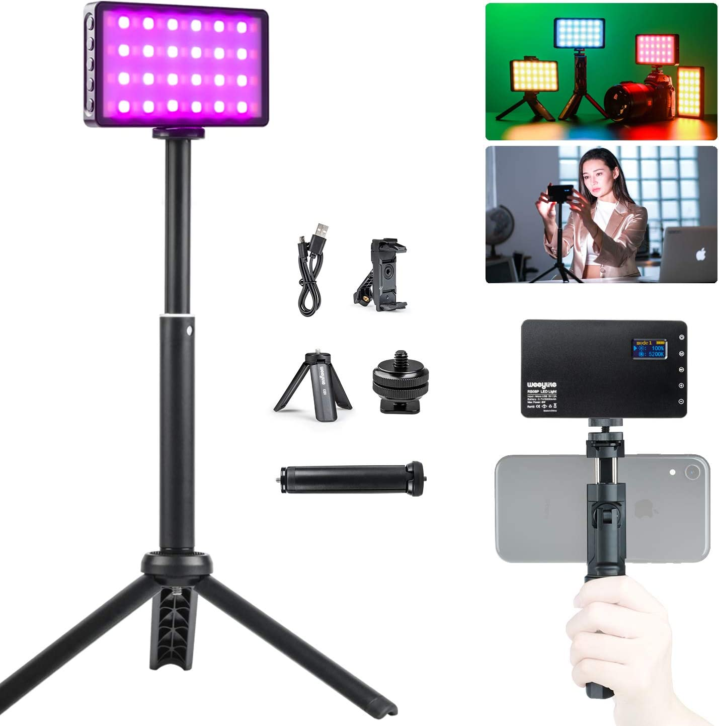 RGB LED Video Light, Portable Mini Built-in Rechargeable Battery LED On Camera Light for Photography Camcorder Shooting with Dimmable 2500-8500K 360° Full Color 20 Light Effects Aluminum Alloy Shell
