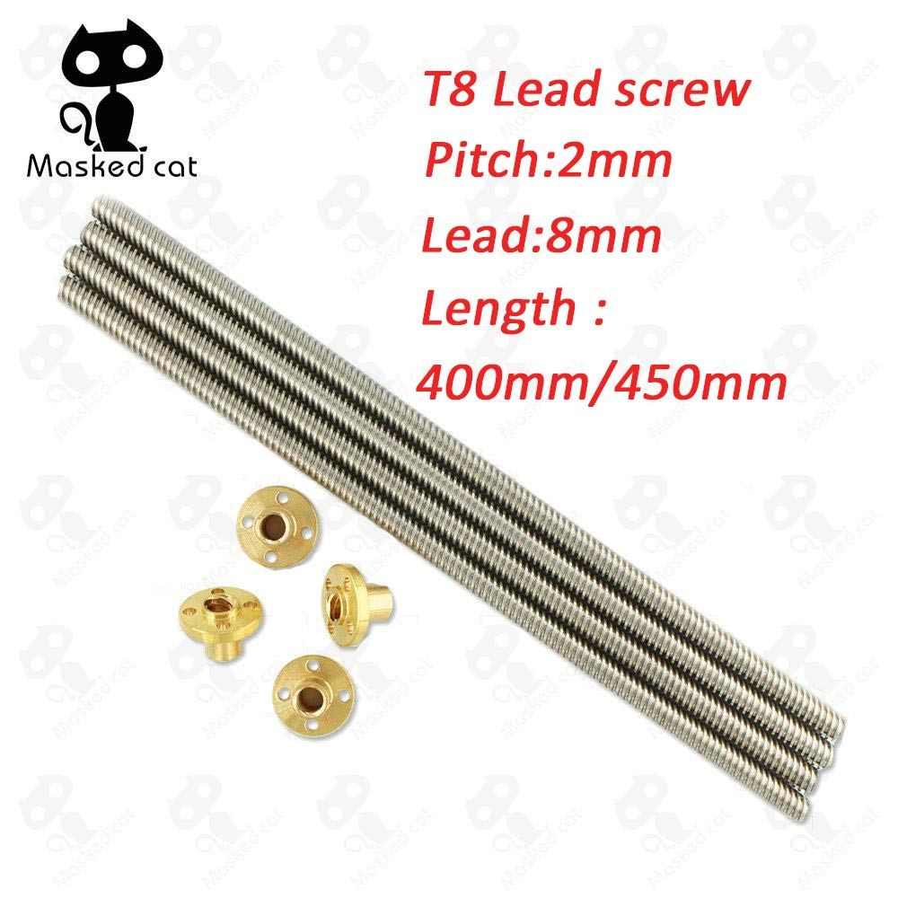 3D Printer Parts T8 Screw 8mm Lead Screw 400/450mm with Brass Nut 4 Start Z Axis Linear Rail Shaft 3D Printer Parts Accessories 1