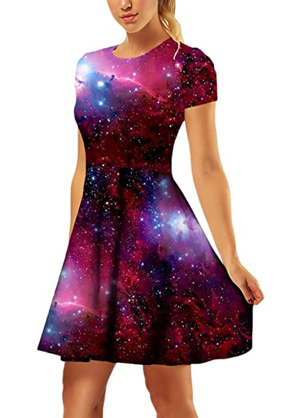 e82e4600a Vestidos Fiesta Mujer Elegantes Moda Vestido De Oscilación Verano Cuello  Redondo Estampadas Galaxia Años 55 Slim Fit Manga Corta Casual Vestidos De  Línea A ...