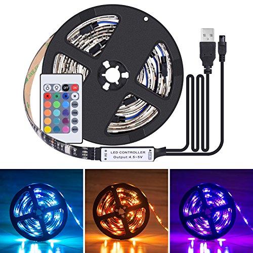 Boomile LED TV Backlight Strip Bias Lighting, 6.56Ft/2M 60Leds Flexible 5050 RGB USB LED Light Strip, TV Background Lighting Kit with Remote Control for HDTV, Flat Screen TV Desktop PC, Multi Color