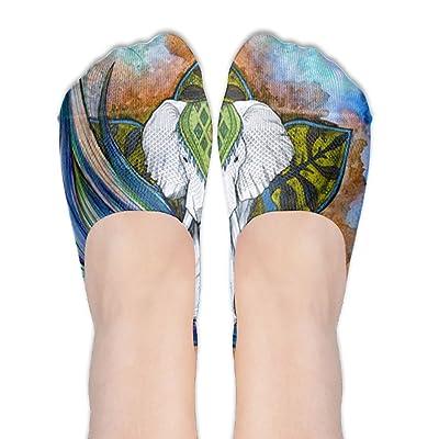 d769131cf8ff88 Xiuarrowxiu No Show Socks Bright Color Flower Elephant Girls' Non Slip Crew  Low Cut Liner