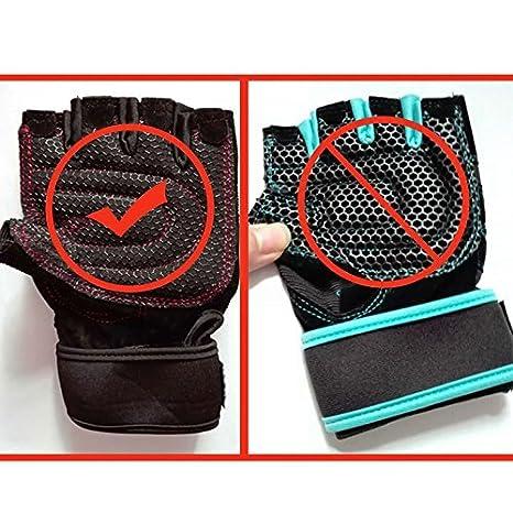 CESHUMD Sport Gym Guantes Mitad Dedos Levantamiento Breathable Fitness - Pesas Guantes Hombres Mujeres Gym Guantes tamaño L, Color Negro, tamaño Large: ...