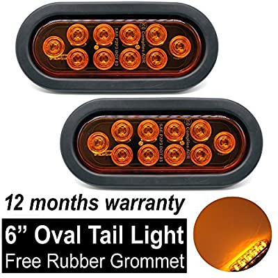 TMH (Pack of 2) 6 Inch 10 LED Oval Flush Mount Amber Stop Turn Signal Brake Marker Tail LED Light for Truck Trailer RV Bus 12V Rubber Grommet & Plug Included: Automotive