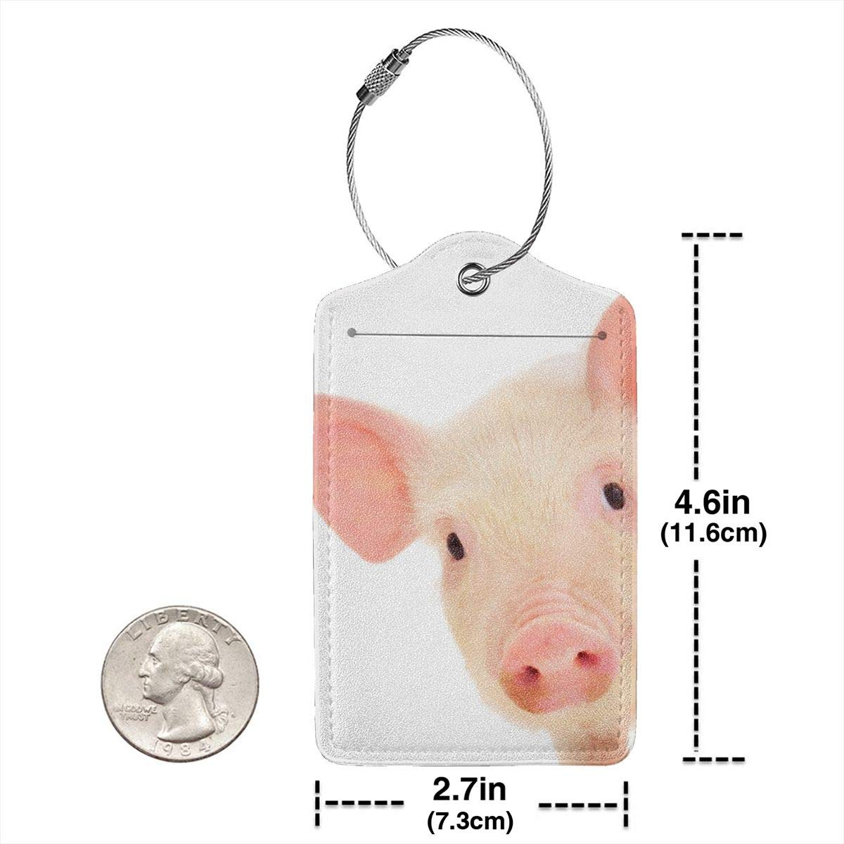 Cute Piglets Animal Pig Luggage Tag Label Travel Bag Label With Privacy Cover Luggage Tag Leather Personalized Suitcase Tag Travel Accessories