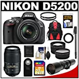 Nikon D5200 Digital SLR Camera and 18-55mm G VR DX AF-S Zoom Lens (Black) with 55-300mm VR + 500mm Telephoto Lens + 32GB Card + Backpack + Tele/Wide Lenses + Monopod + Accessory Kit