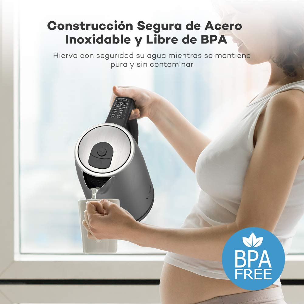 Hervidor de Agua Eléctrico 1.7L VAVA 2000W (Libre de BPA, Control Preciso de Temperatura, Protección contra Hervido Seco, Mango Seguro Térmicamente ...
