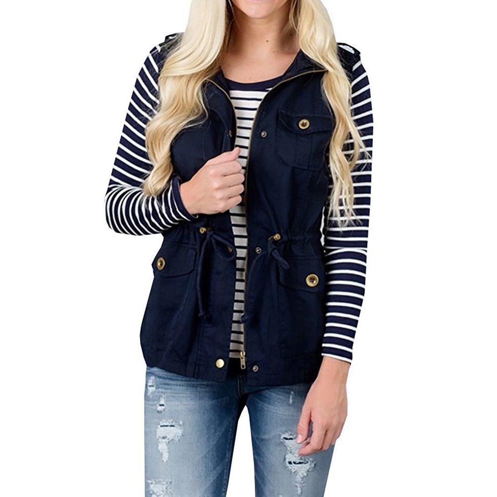 YOUMU Women Lightweight Drawstring Sleeveless Military Jacket Vest with Pocket