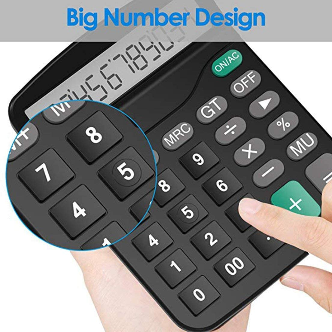 SKYYKS Kunststoff Solar Computer Business Finanzen Office Calculator 12-Bit-Desktop-Rechner B/ürobedarf
