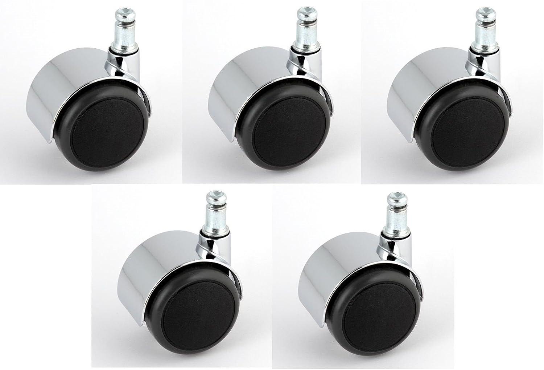 Satz Stuhlrollen Chrom 50 mm Klemmstift 11 ohne Bremse mit PU-Bereifung grau spurlos f/ür harte B/öden Hartbodenrolle
