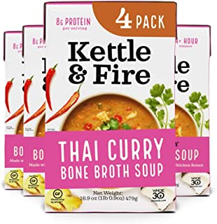 product image for Thai Curry Soup with Chicken Bone Broth by Kettle and Fire, Pack of 4, Paleo, Gluten Free Collagen Soup on the Go, 18g of protein, 16.9 fl oz