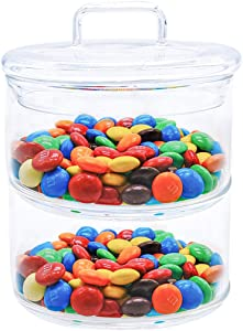 MANO 2 Tier Decorative Stackable Round Glass jar with lids clear Glass Storage Canister Great for Cereal, Candy, Nuts, Sugar, Flour, Chip and Cookies