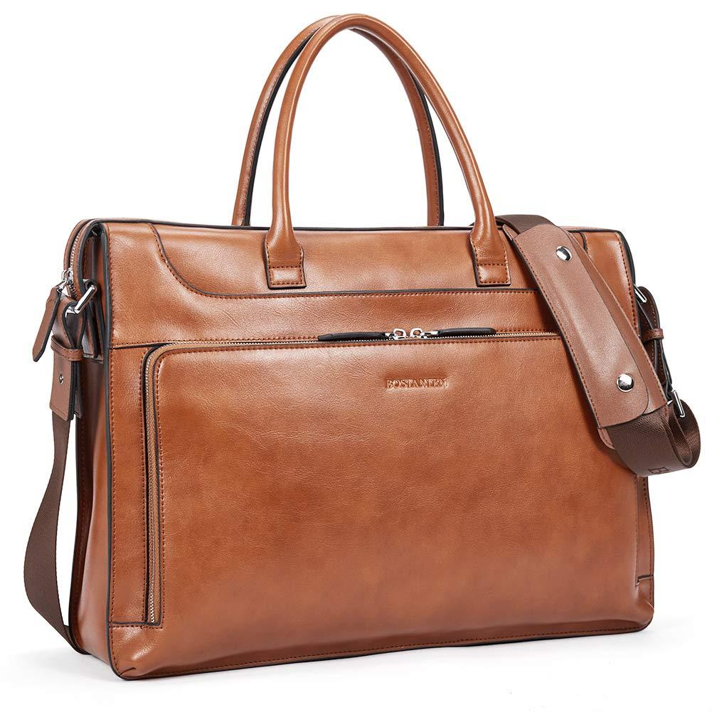 BOSTANTEN Leather Briefcase Vintage Business Message Bags 15.6 inch Laptop Shoulder Handbag for Women & Men