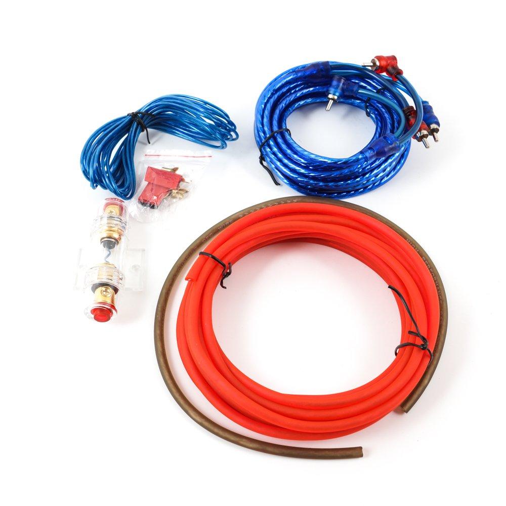 Auto Car Hifi Verstä rker Endstufe Kabel Anschlusskabel Komplettsatz zum Anschluss einer Autoendstufe oder eines aktiven Subwoofers, Massekabel, 60 A Sicherung DIYI