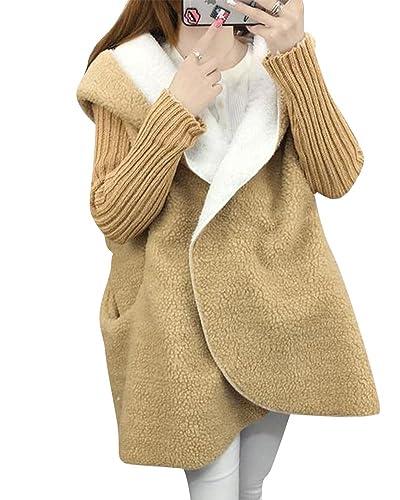 Mujer Abrigo Largo Abrigo Chaqueta Con Capucha De Piel Sintética Outerwear Espesar