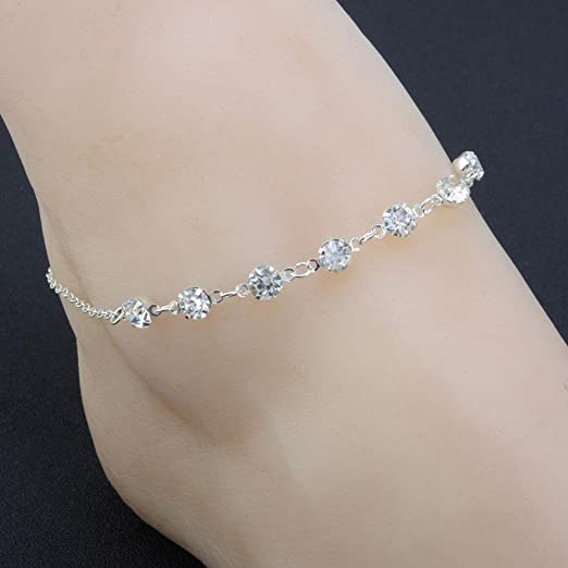 Women Crystal Rhinestone Silver Anklecelet Anklet Adjustable Beach Foot Chain By Kimloog Silver