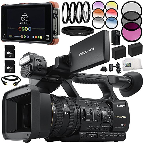 Sony HXR-NX5R NXCAM Professional Camcorder 13PC Accessory Bundle - Includes Atomos Ninja Flame + Includes 2X 64GB SD Memory Cards + 2 Replacement Batteries + More -  SSE